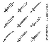 swords and sabers set of weapon ... | Shutterstock .eps vector #1210983466