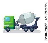 concrete mixing truck vector.... | Shutterstock .eps vector #1210986046