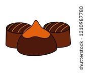 caramel chocolate candy sweet...   Shutterstock .eps vector #1210987780