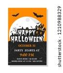 happy halloween invitation card.... | Shutterstock .eps vector #1210988329