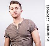 elegant young handsome man.... | Shutterstock . vector #121099093