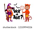 cartoon children witch and... | Shutterstock .eps vector #1210994326