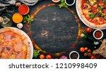 a set of italian pizza. italian ... | Shutterstock . vector #1210998409