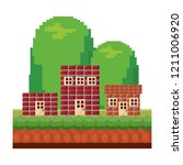 pixelated video game | Shutterstock .eps vector #1211006920
