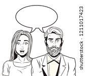 pop art couple cartoon   Shutterstock .eps vector #1211017423
