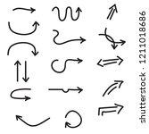black hand drawn arrow set | Shutterstock .eps vector #1211018686