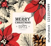 vector christmas card with... | Shutterstock .eps vector #1211019499