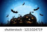 halloween scary pumpkins with... | Shutterstock . vector #1211024719