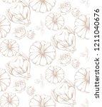 turkey and pumpkins pattern...   Shutterstock .eps vector #1211040676