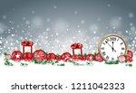 christmas header with clock ... | Shutterstock .eps vector #1211042323