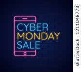 neon text with cyber monday... | Shutterstock .eps vector #1211048773