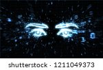 glowing eyes in explosion of... | Shutterstock . vector #1211049373