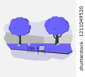 trees and chairs illustration