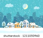 christmas winter landscape with ... | Shutterstock .eps vector #1211050960