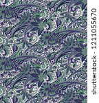 paisley seamless pattern with... | Shutterstock . vector #1211055670