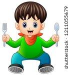 cartoon happy little boy... | Shutterstock . vector #1211055679