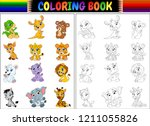 coloring book with cartoon wild ... | Shutterstock . vector #1211055826
