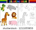 coloring book with wild animals ... | Shutterstock . vector #1211055853