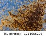 rusty blue metal background ... | Shutterstock . vector #1211066206
