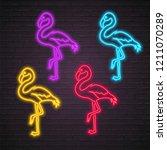 flamingo silhouette different...   Shutterstock .eps vector #1211070289