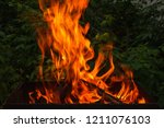 fire and firewood in a burning... | Shutterstock . vector #1211076103