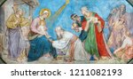 Small photo of PRAGUE, CZECH REPUBLIC - OCTOBER 17, 2018: The fresco of Adoration of Magi the in church kostel Svateho Cyrila Metodeje by Petr Maixner (1872).