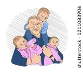 dad and kids. having many...   Shutterstock .eps vector #1211083906