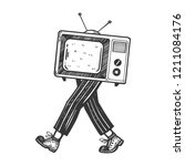 tv walks on its feet engraving... | Shutterstock . vector #1211084176