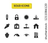 mixed icons set with lock  sun...