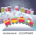 cute christmas card with train  ... | Shutterstock .eps vector #1211093683