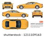 yellow car vector mockup on... | Shutterstock .eps vector #1211109163