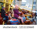 Adorable Little Kid Girl Riding ...