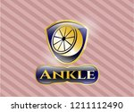 gold emblem with orange icon... | Shutterstock .eps vector #1211112490