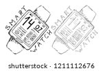smartwatch outline. wristwatch... | Shutterstock .eps vector #1211112676