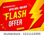 flash sale banner red template | Shutterstock .eps vector #1211113390