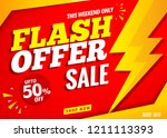 flash sale offer banner red... | Shutterstock .eps vector #1211113393