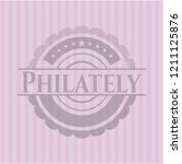 philately badge with pink... | Shutterstock .eps vector #1211125876