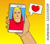 online dating  long distance... | Shutterstock .eps vector #1211143159