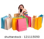 a girl in a long dress color... | Shutterstock . vector #121115050