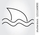 shark icon thin line isolated...