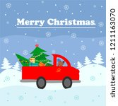 christmas and new year greeting ... | Shutterstock .eps vector #1211163070
