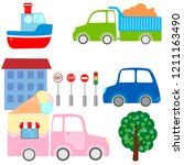 collection of cartoon transport ... | Shutterstock .eps vector #1211163490
