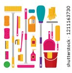 cleaning set  isolate  flat... | Shutterstock .eps vector #1211163730