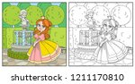 cute princess in palace park... | Shutterstock .eps vector #1211170810