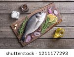 raw dorado fish and ingridient... | Shutterstock . vector #1211177293