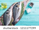 raw dorado fish and ingridient... | Shutterstock . vector #1211177299