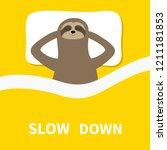 sloth sleeping. cant sleep... | Shutterstock .eps vector #1211181853