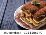 homemade tiramisu cake . sweet...   Shutterstock . vector #1211186140