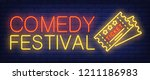 comedy festival neon sign.... | Shutterstock .eps vector #1211186983