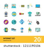 internet icon set. web camera... | Shutterstock .eps vector #1211190106